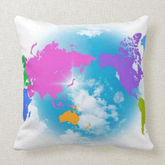 Mapa global colorido cojín