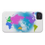 Mapa global colorido funda para iPhone 4 de Case-Mate