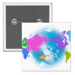 Mapa global colorido pin cuadrado