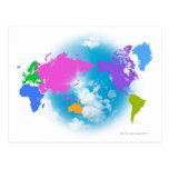 Mapa global colorido postales