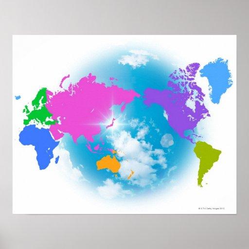 Mapa global colorido póster