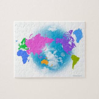 Mapa global colorido puzzles