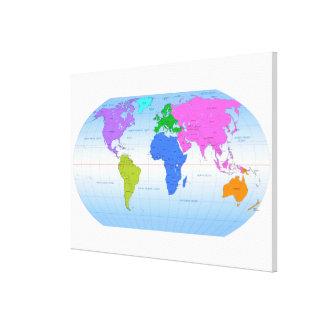 Mapa global impresiones en lienzo estiradas
