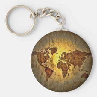 Mapa global lindo llavero redondo tipo pin