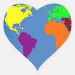 Mapa global pegatina en forma de corazón