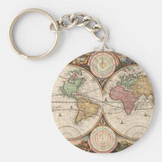 Mapa global viejo llavero redondo tipo pin