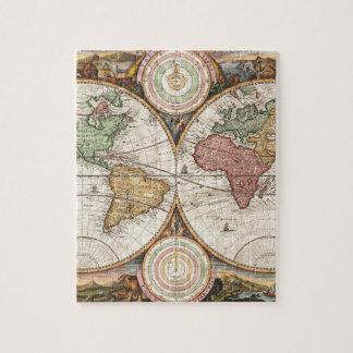 Mapa global viejo rompecabezas