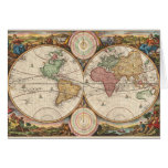 Mapa global viejo tarjeta