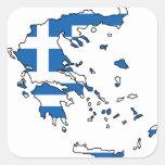 Mapa GR de la bandera de Grecia Calcomanías Cuadradas Personalizadas