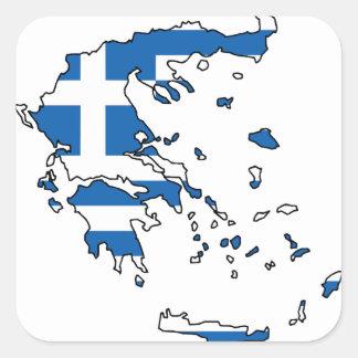 Mapa GR de la bandera de Grecia Calcomanias Cuadradas