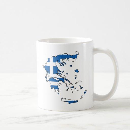 Mapa GR de la bandera de Grecia Tazas