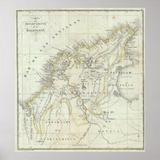 Mapa grabado de Colombia Posters