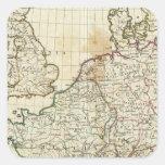 Mapa grabado de Europa Pegatina Cuadrada
