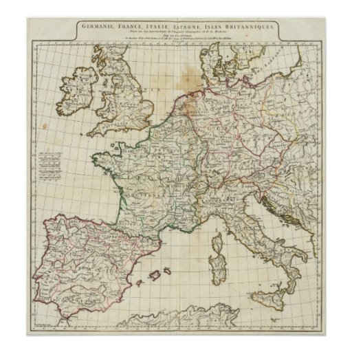 Mapa grabado de Europa Póster