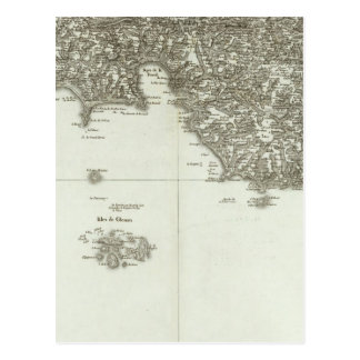 Mapa grabado de Francia 2 Tarjetas Postales