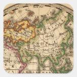 Mapa grabado del hemisferio del este pegatina cuadrada