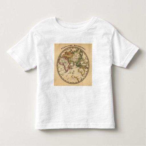 Mapa grabado del hemisferio del este playera de bebé