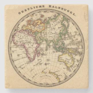 Mapa grabado del hemisferio del este posavasos de piedra