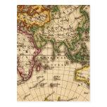 Mapa grabado del hemisferio del este postal