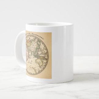 Mapa grabado del hemisferio del este taza grande