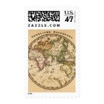 Mapa grabado del hemisferio del este timbre postal