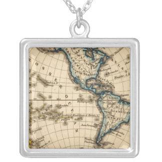 Mapa grabado del hemisferio occidental colgante cuadrado
