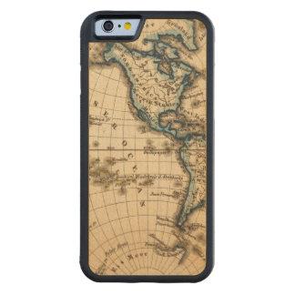 Mapa grabado del hemisferio occidental funda de iPhone 6 bumper arce