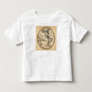 Mapa grabado del hemisferio occidental t-shirt