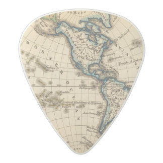 Mapa grabado del hemisferio occidental plectro de acetal