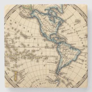 Mapa grabado del hemisferio occidental posavasos de piedra
