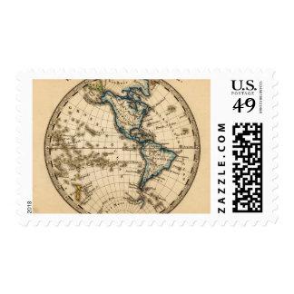 Mapa grabado del hemisferio occidental sellos