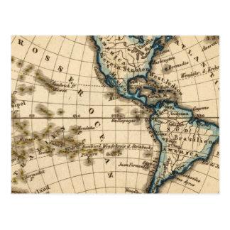 Mapa grabado del hemisferio occidental postal