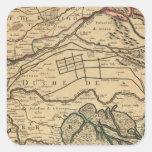 Mapa grabado valle del río Po Calcomanías Cuadradases