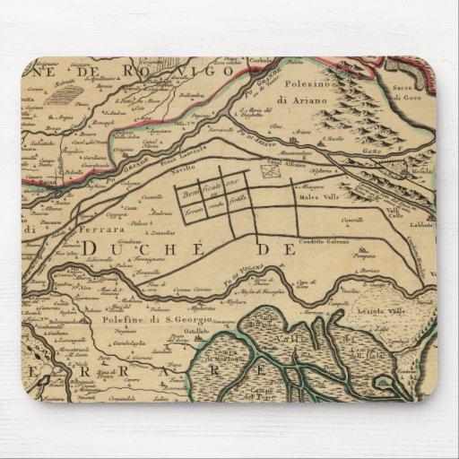 Mapa grabado valle del río Po Alfombrillas De Ratón
