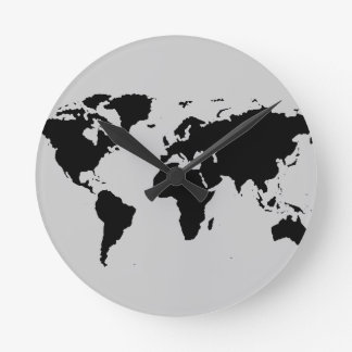 mapa gráfico del mundo reloj redondo mediano