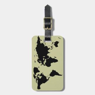mapa gráfico negro del mundo etiquetas para maletas