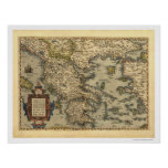 Mapa griego Ortelius 1570 de las islas Póster