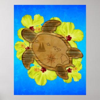 Mapa hawaiano de Honu Impresiones
