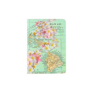 Mapa hawaiano de la flor porta pasaportes