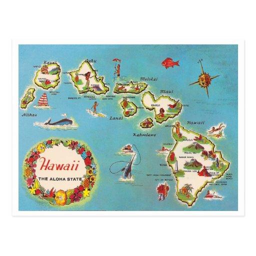 Mapa hawaiano del vintage postal