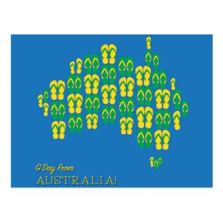 Mapa hecho de correas australianas tarjetas postales