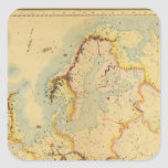 Mapa hidrográfico de Europa Pegatina Cuadrada