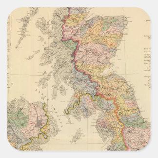 Mapa hidrográfico, islas británicas pegatina cuadrada