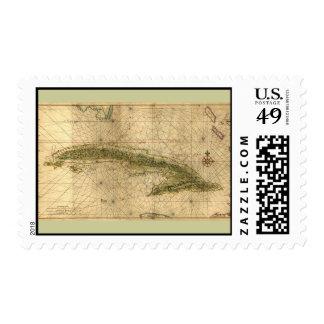 Mapa histórico 1639 de Cuba de Joan Vinckeboons Estampilla