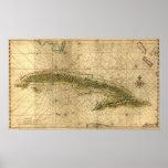 Mapa histórico 1639 de Cuba de Joan Vinckeboons Posters