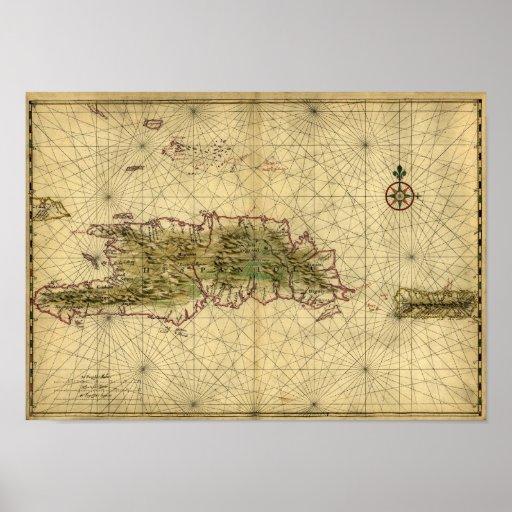 Mapa histórico 1639 de La Española - Joan Vinckebo Posters