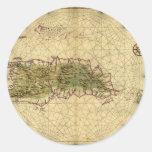Mapa histórico 1639 de La Española - Joan Vinckebo Etiquetas Redondas
