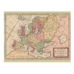 Mapa histórico 1721 de Europa Tarjeta Postal