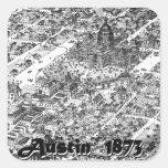 Mapa histórico 1873 de Austin Colcomanias Cuadradas Personalizadas