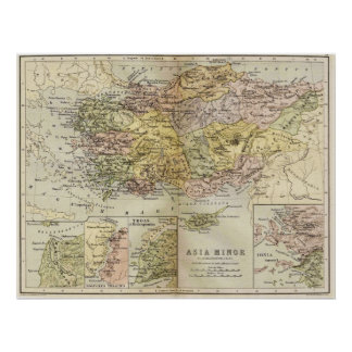 Mapa histórico Asia Menor antiguo Anatolia Impresiones